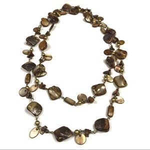 Stone and Shell Earth-Tone Long Necklace